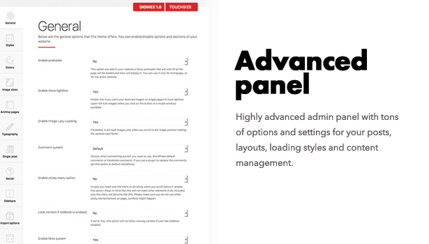 Diginex has advanced options panel