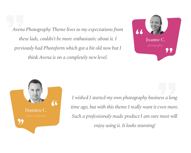 Avena Testimonials avena - photography wordpress for professionals (photography) Avena – Photography WordPress for Professionals (Photography) avena estimonials